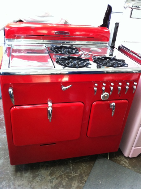 "S""Rare Red"" can no longer be done in Red 38"" W Griddle on the left w Broiler underneath ""Soupwell"" Right Rear Storage Pantry on the right Classic 1950s!"