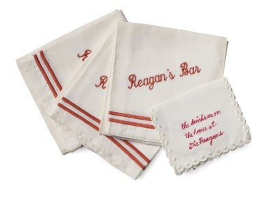 "Reagan's Bar Napkins could become a Reagan's Stove slogan, ""The food is on the house at the Reagan's"". ;-) Imagine on a plaque."