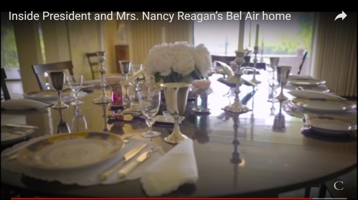 Table set at the Reagan's home. Imagine the meals being cooked on the Reagan Stove.